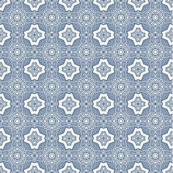 Seamless wallpaper with aztec ornament in blue colors