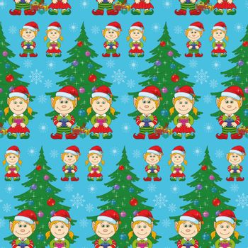 Seamless holiday Christmas background: cartoon child elves with gift boxes near fir tree