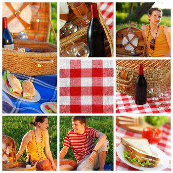 Collage made with beautiful picnic shots
