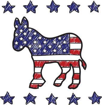 Democratic party Donkey insignia sketch
