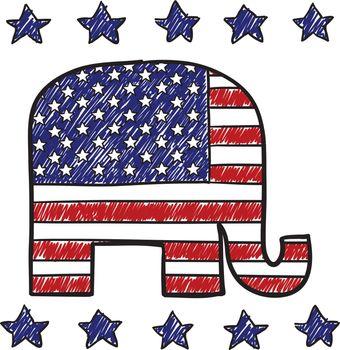Republican party elephant insignia sketch