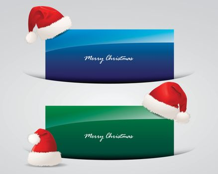 Set of Christmas banners with Santa Claus caps