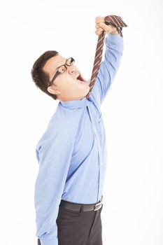 depression businessman tighten the tie