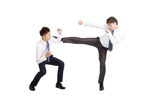 two asian businessman fighting