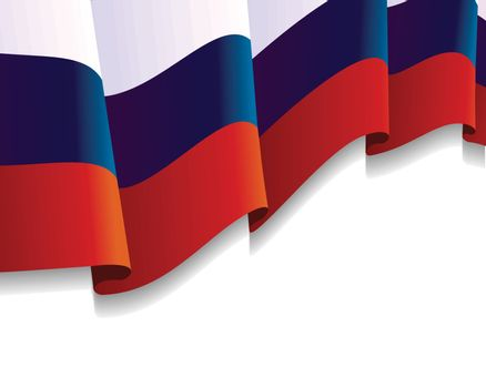 Russian Flag in the Wind with copy space