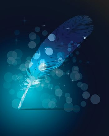 One Abstract blue writing feather and light
