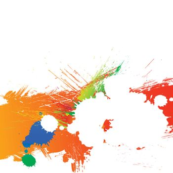 Colorful bright ink splashes and grunge background
