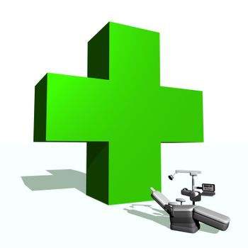 Big green cross and dental chair in white background