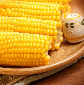 Corncob on the plate