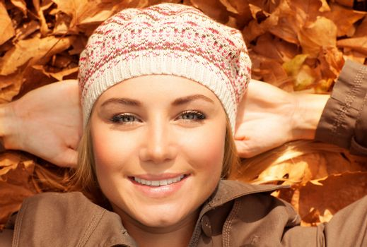 Attractive female on fall foliage