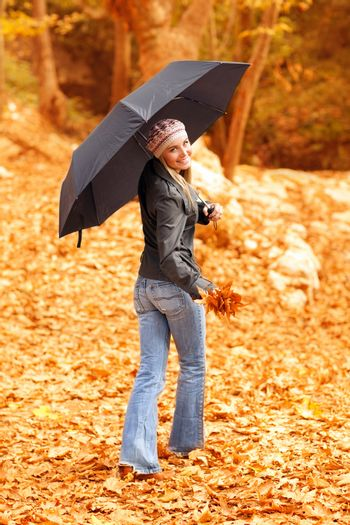 Young lady with umbrella