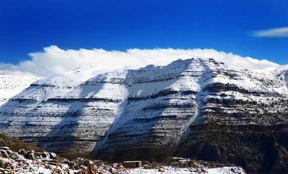 beautiful winter landscape with high mountains