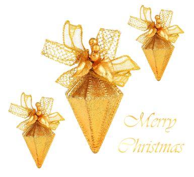 Golden Christmas tree ornaments