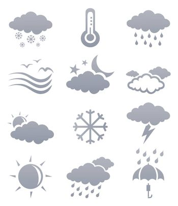 Icons of the weather phenomena. A vector illustration