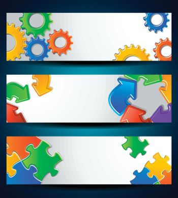 Set of horizontal banners Gear, puzzle, arrows For business Concept