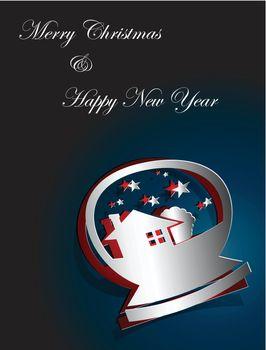 Christmas card design snowglobe sticker paper cut