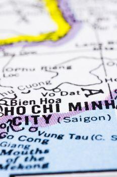 close up of ho chi minh city on map, Vietnam