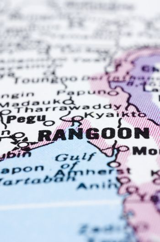 close up of Rangoon or Yangon on map, Myanmar