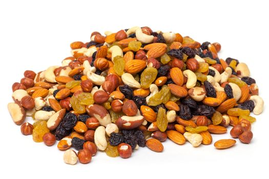 Mixture of nuts and raisins