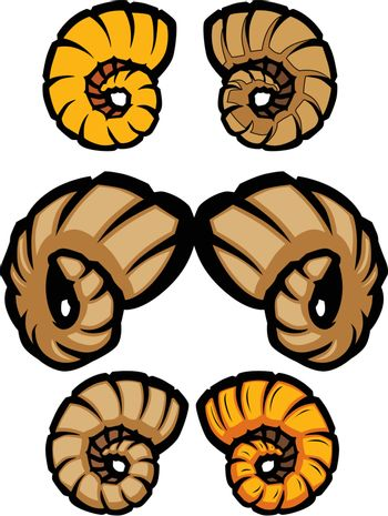 Collection of Ram Horns Vector Illustrations