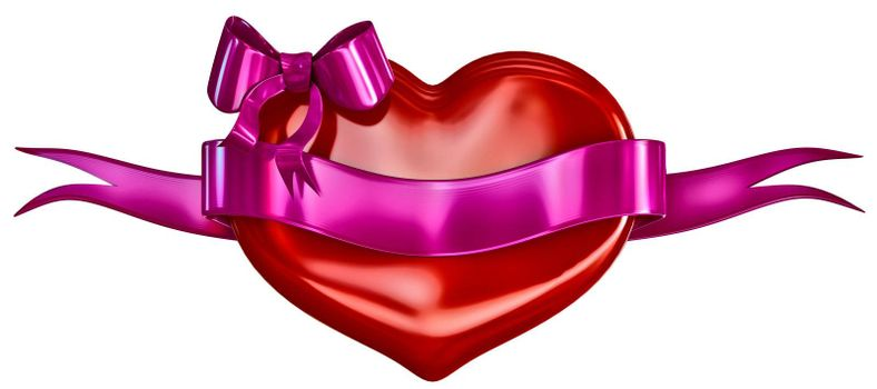 3D heart with bow and lillac ribbon on a white background