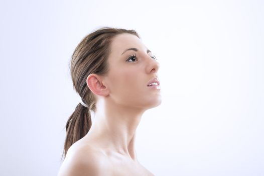 Graceful woman craning her neck