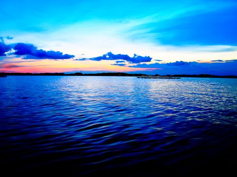 Twilight sunset in the sea