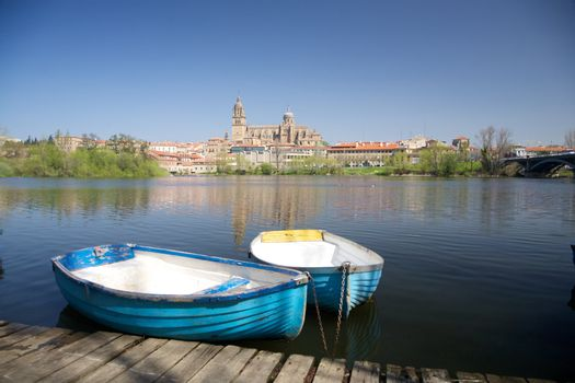 two boats next in front of Salamanca