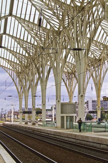 Wonderful view of the beautiful and modern architectural design of the Gare do Oriente train station in Lisbon, Portugal.