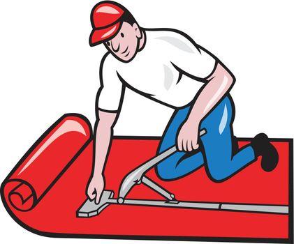 Carpet Layer Fitter Worker Cartoon