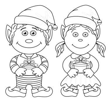 Christmas elves, boy and girl, outline