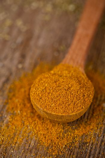 curry powder in wooden spoon