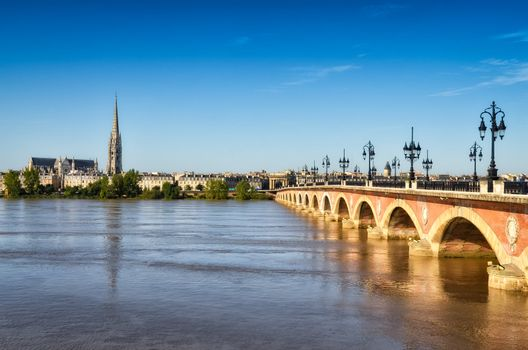 Bordeaux river bridge with St Michel cathedral