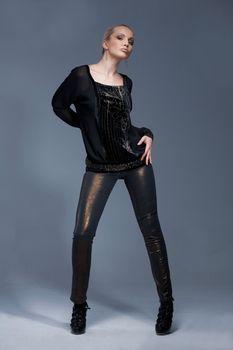 Beautiful model, posing, dressed in vintage