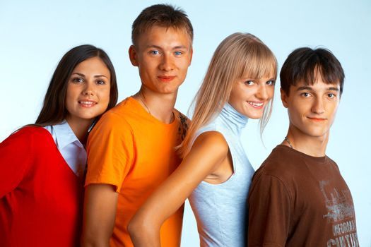 Group of smiling students and smile on white background