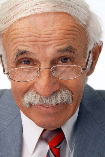 Close-up portrait of a happy elder businessman in the glasses.