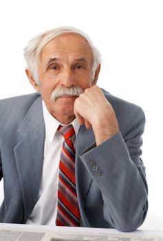 Portrait of an elder happy man on white background