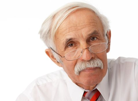 Close-up portrait of an elder man looking at you