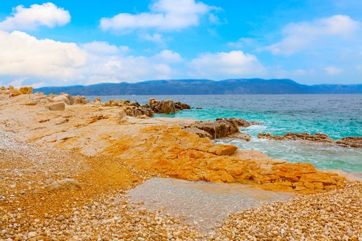 Photo of the Istrian part of the Adriatic coast, with blue sky