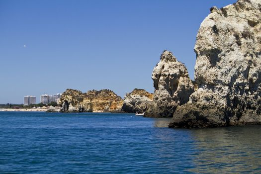 Wonderful view of the beautiful coastline of the Algarve, Portugal.