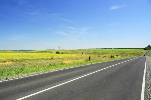 Road and green field on a background of blue sky.