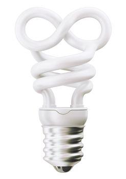 infinity or eternity symbol light bulb over white