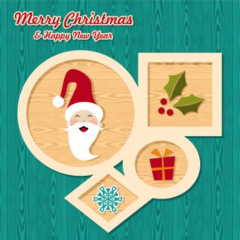 Retro Christmas elements set