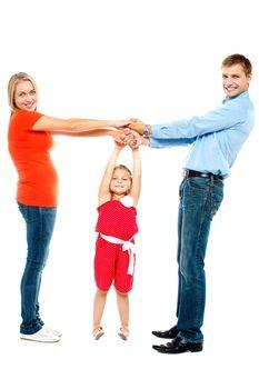 Cheerful family having fun indoors