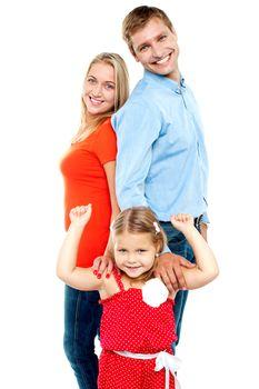 Caucasian family of three, isolated