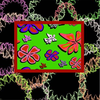 Abstract frame with flowers, vector