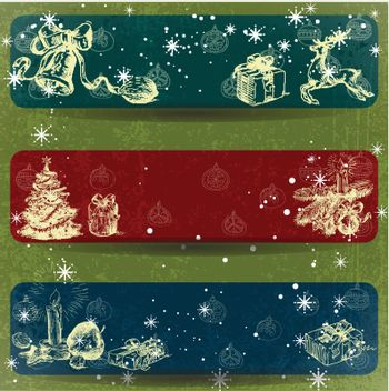 Christmas hand drawn decoration banner with Grunge Effect