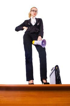 Businesswoman shouting through loudspeaker