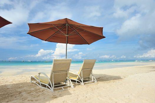Chaise lounge at beach
