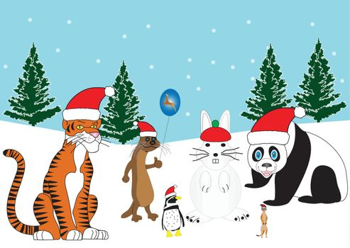 A Tiger,Otter,Penguin and a Meerkat in Santa Hats with a Snowman Rabbit and Snowy Background with Xmas Trees